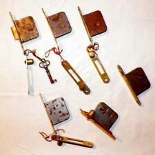 6 Antique Cupboard Locks Latches Iron 5 Keepers 1 Key Hardware Work #3 Lock