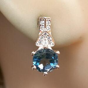 2.10ct London Blue Topaz & Diamond Cut White Sapphire 14K Rose Gold 925 Earrings