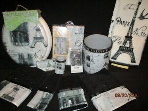 Popular Bath 11 Pieces Paris Stamp Eiffel Tower Bath/Bathroom Set *New*