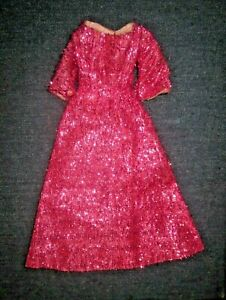 VTG 60s/70s MOD HOT PINK METALLIC CLONE GOWN DRESS FOR BARBIE & HER FRIENDS