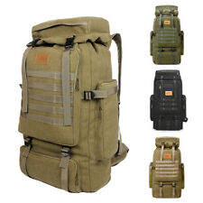 Men's 70L Outdoor Camping Hiking Trekking Canvas Backpack Military Tactical Bag