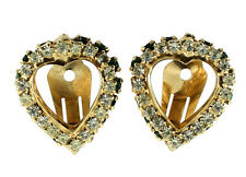 VINTAGE WARNER EMERALD GREEN & CRYSTAL RHINESTONE DOUBLE HEART CLIP EARRINGS