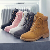 Women Winter Motorcycle Zip Lace Up Ankle Boots Round Toe Block Heel Shoes