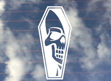 Skull And Coffin Decal Sticker 200mm Outdoor Vinyl Any Colour Buy 2 Get 1 Free