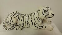 "Large White Tiger Resting 15"" Long Statue Home Decor Tiger King NEW!"