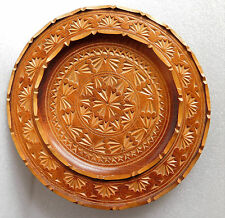 Vintage wooden plate Carved wood 9 inch European traditional folk art