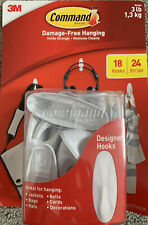 New 3M Command 3 Lb 18 Designer Hooks 24 Strips Damage Free Easy Release No Nail