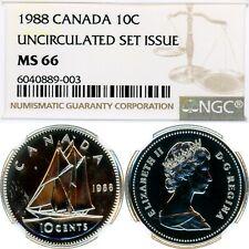 1988 - CANADA - 10 CENTS - NICKEL - 10C - NGC MS 66 - UNCIRCULATED SET - POP=2