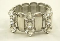 Luxurious New Crystal Silver Tone High Polished Stretch Bracelet #B53195