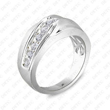 14K White Gold FN 1 Carat Mens Round Diamond Engagement Wedding Pinky Ring Band
