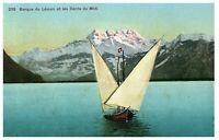 Barque du Léman et les Dents du Midi  Sail Boat Alps Switzerland Postcard