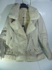 RIVER ISLAND FAUX SUEDE AVIATOR JACKET CREAM COAT FUR COLLAR JACKET SOLD OUT 14