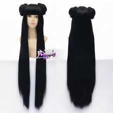 100cm Black Long Straight Hair Wigs Anime Cosplay Wig with Buns + Cap