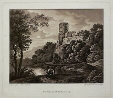FRANZ HEGI - Die Burg in der Abendsonne - Aquatinta 1797