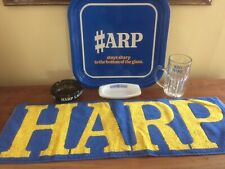 HARP larger bar towel, metal tray 2 glass ashtrays & half pint glass