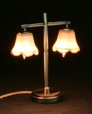 Dollhouse Miniature Table Lamp - MH45158 - MODERN TABLE LAMP WITH 2 TULIP SHADES