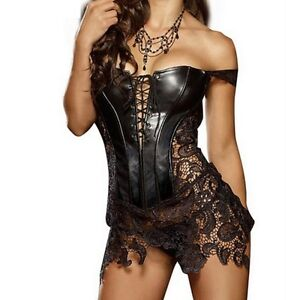 Ladies Sexy Faux Leather Boned Corset Basques+Skirt+Thong Outfit PLUS Size 6-24