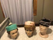 Lot 3 Vintage Ladies Pillbox Style Hats Pink Turqoise Brown Black