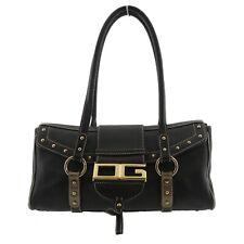 Authentic DOLCE & GABBANA DG LOGO Shoulder Bag Black Leather #f83595