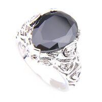 Handmade Love Heart Shaped Black Onyx Gemstone Silver Woman Ring Size 7 8 9 R55