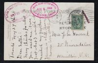 Canada 1908 KEVII RETURNED POSTAGE DUE Postcard w/TWO DLO Kingston Hamilton