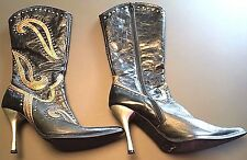Dollhouse Wild Black Metallic Design Studded Leather Mid Calf Heels Boots Size 8