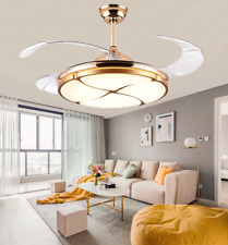 """New Listing42"""" Modern Gold Retractable Ceiling Fan Light Remote Control Led Chandelier"""