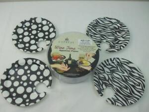 """4 Cypress Home Appetizer Plates Combination Wine Glass Holder Black White 7"""""""