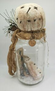 """Primitive Christmas Snowman Canning Large Jar with Tree, """"Fire"""" LED Light"""