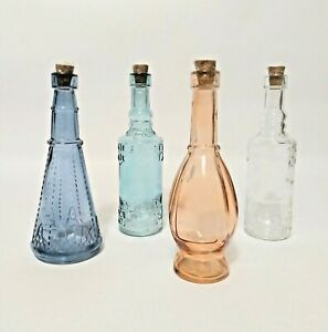 Decorative Glass Bottles with Corks Blue Green Peach Clear Approx. 7""