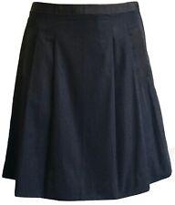 J Crew Skirt Size 2 Navy Blue Black Trim Cotton Taffeta Nicky Pleated A-Line B73