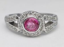 Vintage Style Split Band Pink Sapphire Engagement Ring