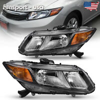 for 2012-2015 Honda Civic Black Housing Headlights Headlamps Assembly Left+Right