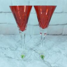 Vintage Waterford Crystal Lismore Crimson Flute Set x2 #143815 Glasses Box Pair