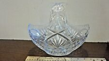 Vintage Crystal Cut Glass Basket Bowl Great for Fruit or Candy Heavy