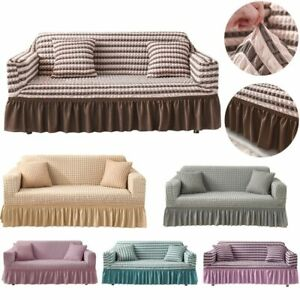1/2/3/4 Seaters Elastic Stretch Sofa Armchair Covers Couch Slipcover + Skirt New