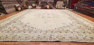 "Primitive  Antique Cr1930-1940's Muted Dye Wool Pile Oushak Area Rug 7'5""×11'5"""