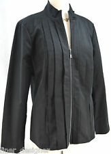 CHLOE MADISON light Jacket pleated Blazer zip Suit Coat stretch Top Black SZ 14