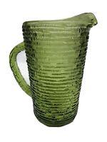 "Vintage Soreno Avocado Green Glass Juice Pitcher 6.5"" Tall Anchor Hocking"