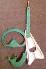 SNORKEL MASK FIN SCUBA Copper Verdigris Christmas Ornament Handcrafted Beach Sea