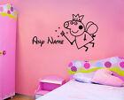PEPPA COCHON & Prénom Autocollant Mural Disney en vinyle pour chambre d'enfant