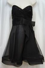 Betsy & Adam Dress Sz 8 Black Tulle Mesh Strapless Evening Cocktail Party Dress