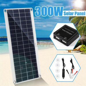 300W 12V Dual USB/DC Flexible Solar Panel Efficient Car Battery Charge Camping
