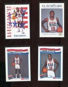 MAGIC JOHNSON LOS ANGELES LAKERS 1992 USA OLYMPICS 4 DIFFERENT BASKETBALL CARD