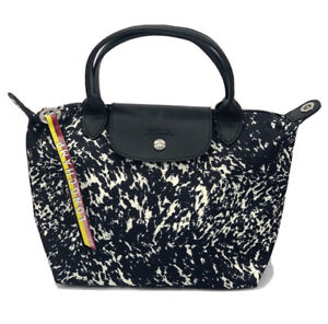 New Longchamp Le Pliage Appaloosa Canvas Black/ White Bag  1512 Made in France