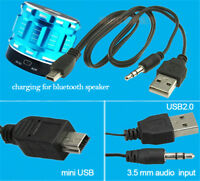 USB2.0 Charging Cord to Mini USB Male 3.5mm Jack Plug Audio Bluetooth Cable YN