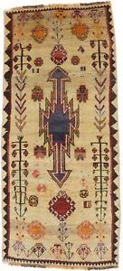 Antique Tribal Beige Hand-Knotted 3X7 Oriental Runner Rug Kitchen Decor Carpet