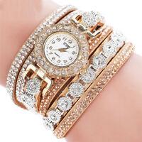 Frauen Mode Lederband Analog Quarz Strass Uhr Armband Uhr Geschenk