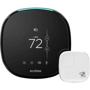 Ecobee - Ecobee4 Wi-Fi Thermostat with Room Sensor and Built-In Alexa Black