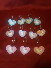 HELLO KITTY 11 SHOWER CURTAIN HOOKS HANGERS KITTY  SANRIO  PRE-OWNED